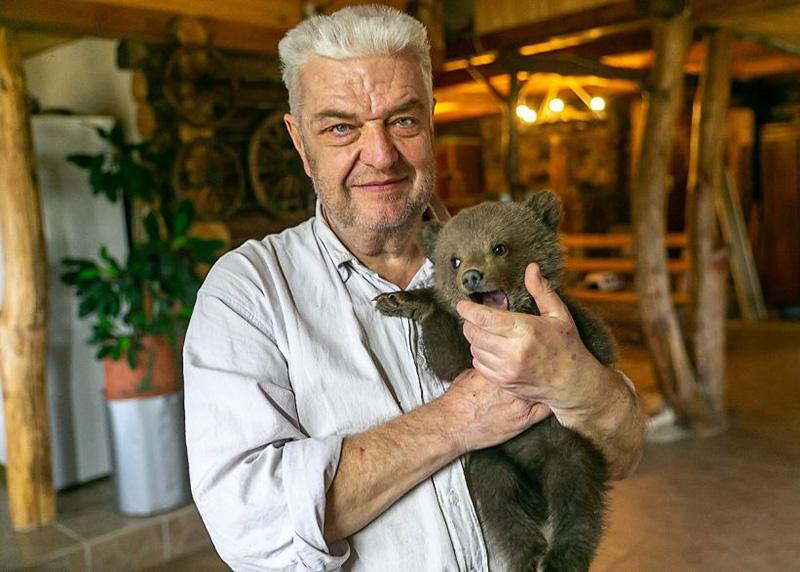 Cachorro de oso rescatado en una granja