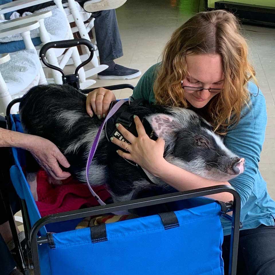 Mujer abraza terapeuta de cerdo