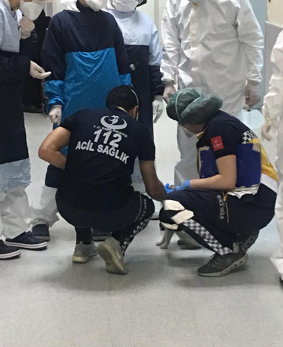 Doctores ayudando